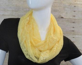 Yellow lace infinity scarf, wrap, shawl, bolero vest, hooded scarf