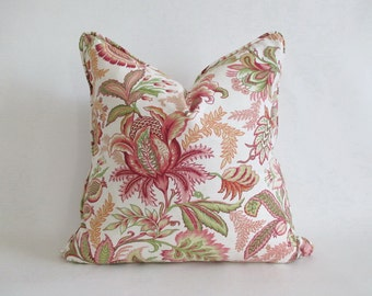 Pillow Cover w/ Piping Jacobean Floral Pinks Fresh Greens Both Sides