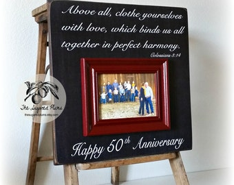 50th Anniversary Gifts, Parents Anniversary Gift, Above All Clothe Yourselves With Love, Anniversary Frame, 16x16 THE SUGARED PLUMS