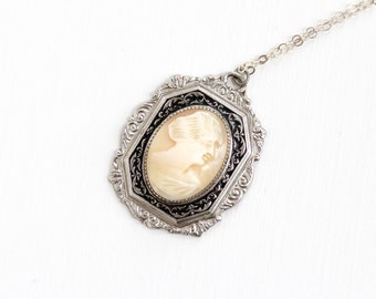 Sale - Vintage Art Deco Cameo Necklace - 1920s 1930s Carved Shell Black Enamel Silver Tone Filigree Pendant Jewelry on Sterling Silver Chain