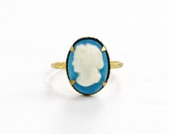 Vintage Cameo Brass Czech Ring - 1930s Lucite Off White on Baby Blue Cameo Made in Czechoslovakia Size 3 1/4 Costume Jewelry