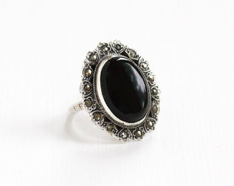 Sale - Vintage Art Deco Sterling Silver Onyx & Marcasite Ring - Size 4 1920s 1930s Statement Oval Flower Motif Cocktail Black Gem Jewelry