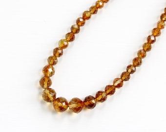 Sale - Vintage Art Deco Genuine Citrine Beaded 14k Gold Filigree Clasp Necklace - 1930s Graduated Yellow Orange Faceted Gem Fine Jewelry
