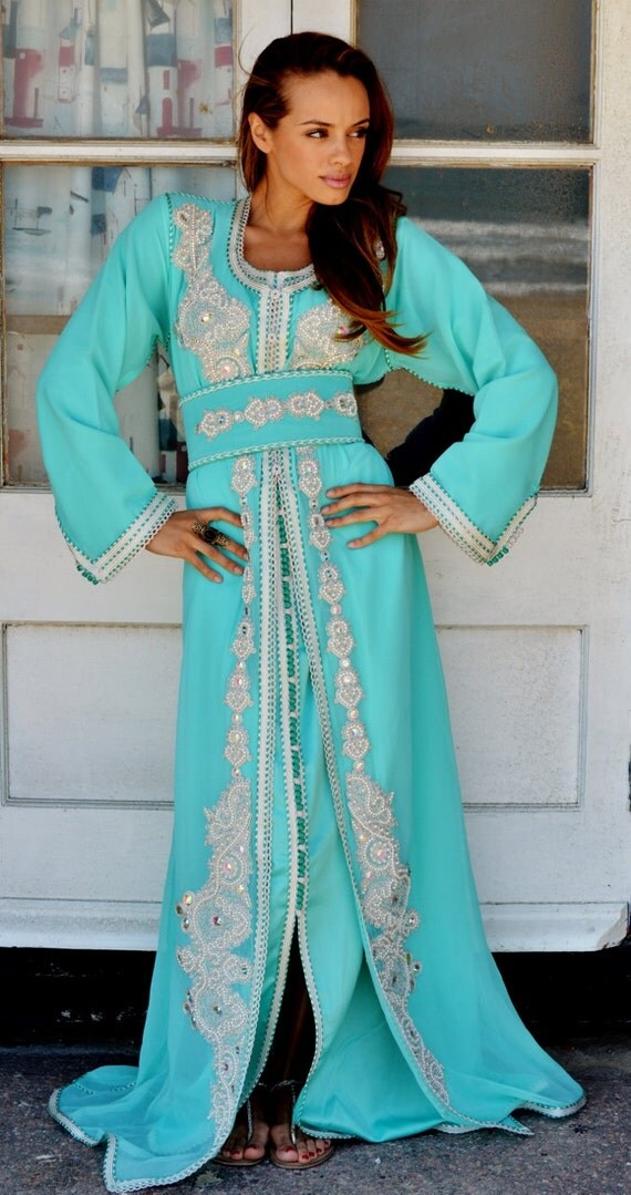 Moroccan Modern Mint Green Embroidery Caftan Kafan-Kalia-moroccan parties, weddings,abbayas, honeymoon, birthday, anniversary gift