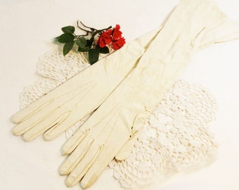 Ivory Antique Over Elbow Leather Gloves with Brown Wrist Buttons