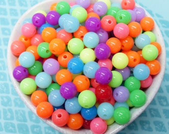 75x 8mm Neon Resin Multi color Globe beads .. Fluoro Fun