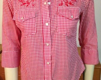 Sailor Jerry Shirt Tattoo Embroidered Swallow Western Cowboy Small Red and White Snaps 3/4 Sleeves