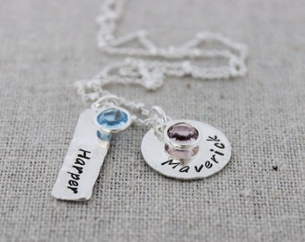 two names necklace with birthstones, mothers necklace with birthstones, 2 names necklace, push present, gift for new mom, malisay designs