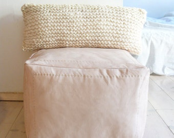 Hand Knitted Wool Cushion - Natural undyed