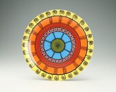 Bright Mandala Platter Hand Painted Bohemian Art Serving Colorful Dinnerware