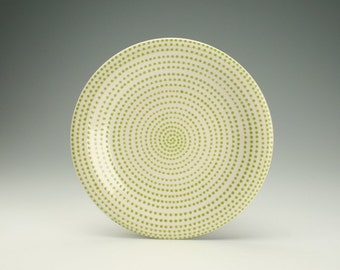 Lime Green and White Spiral Dot Dinner Plate Coupe Dinnerware 10 inches Hand Painted