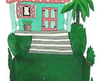 Toilet Paper Holder - Painted Metal Gingerbread House, Tropical Decor, Bathroom Decor, Tropical Metal Art, Home Decor - 7073-TQ -TP