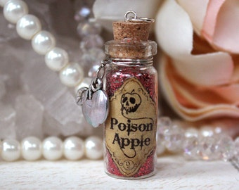 Essence of Poison Apple glass potion vial necklace