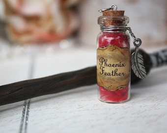 Phoenix Feather Harry potter inspired potion vial necklace