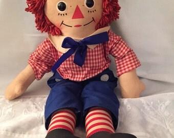 Raggedy Andy Knickerbocker/Mid Century Cloth Doll/ Cloth Doll/ Rag Doll/ Old Doll/ Vintage Doll/Volland/by Gatormom13 JUST REDUCED