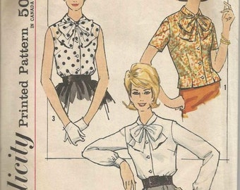 1960s Blouse Tie Collar Princess Seams Sleeve Variations Dart Fitted Button Cuff Simplicity 4676 Bust 31 Women's Vintage Sewing Pattern