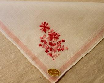 White Vintage Handkerchief with pink embroider flower
