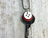 Industrial Vintage Key Necklace With Vintage Buttons Red and White OOAK