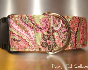 """Large Dog Collar 1.5"""" width Side Release buckle or Martingale collar style Lime & Rose Paisley"""