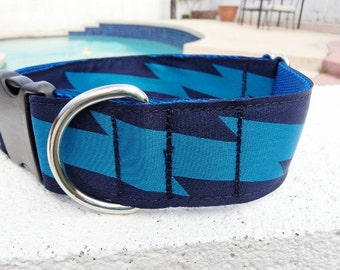 "Wide Dog Collar Lightning Bolt Blue 1.5"" wide Side Release buckle adjustable - ribbon for one collar only / NO martingale"