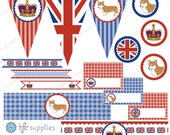 British Party Collection small set - Rule Britannia printable party package, royal crown, corgi, union jack flag - Instant Download