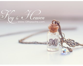 Angel Wings necklace. Glass Vial necklace, wings bottle pendant, vial Miniature bottle necklace, angel jewelry, Inspirational gift for women