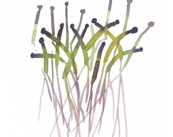 Watercolor painting green Abstract Sprouts watercolor giclee print green & lavender Modern minimalist kitchen decor Wall hanging