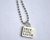 Knit Purl Laugh Pewter Necklace