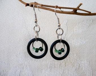 Orbiting Black Ring and Green Beads Earrings