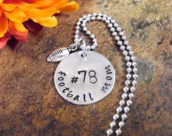Football Mom Jewelry, Personalized Football Mom Necklace, Football Mom Jewelry, Football Jewelry, Hand Stamped Footbal