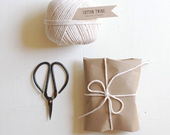 COTTON TWINE + SCISSORS - 130 yard ball of butchers string + small steel scissors