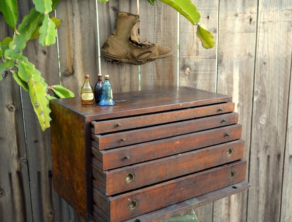 Antique Wooden Dovetail Machinist Tool Box Watchmakers Flat