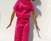 Handmade Jogging Suit for Barbie Dolls Dark Pink