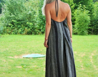 Maxi linen dress - handmade - size S-M - open back - Easter day gift, Eco fashion