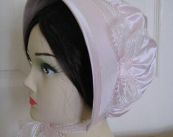 Regency SILK Bonnet. Jane Austen. Pale Pink, Organdy ribbons