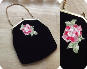 Vintage 60s Purse | 1960s Evening Bag |  Handbag Clutch | Black Velvet & Hot Pink Taffeta | ROSE Embroidered | Chain Handle