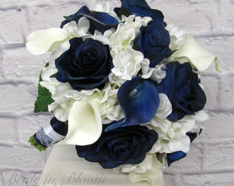 Wedding Bouquet Brides bouquet - Navy and white real touch calla lily blue rose