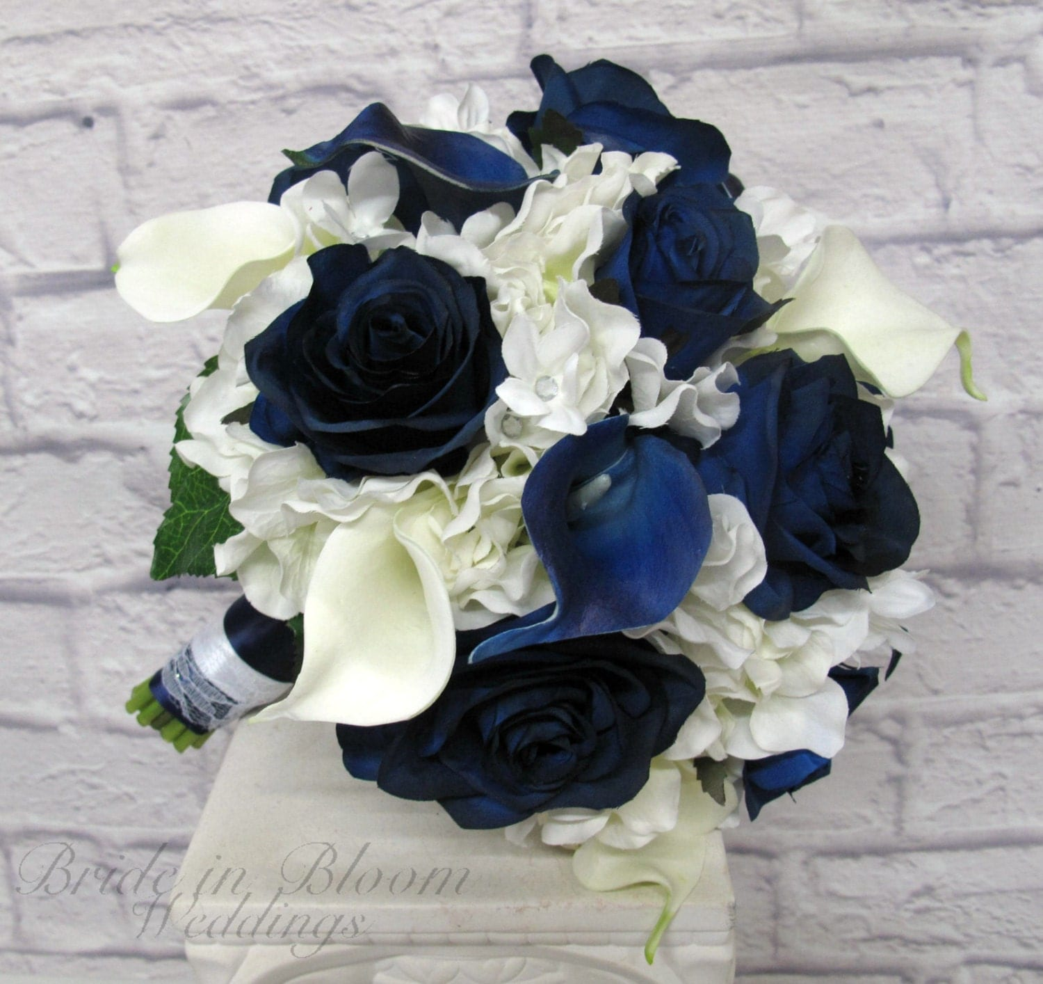 Wedding Bouquet Brides Bouquet Navy And White Real Touch