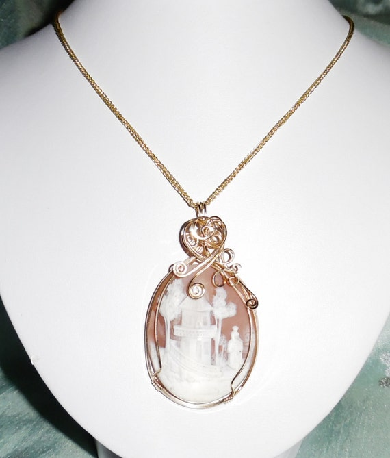 CLEARANCE, 1800's HUGE 45x35mm Chalcedony Cameo Pendant, Necklace, solid 14kt gold wheat chain GIA certified