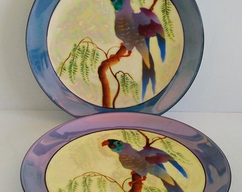 Set of Two Noritake Morimura Lustreware Parrot Plates