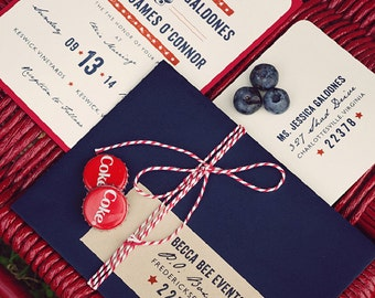 American Beauty -- SAMPLE -- Layered Wedding Invitation Suite, Americana, American, Patriotic, Summer - Fourth of July