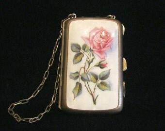 1900s Silver Floral Enamel Compact Purse Card Case Rose Change Purse