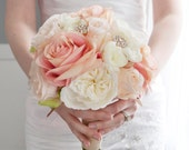 Blush and Ivory Garden Rose Wedding Bouquet - Rhinestone Wedding Bouquet