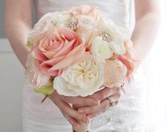 Blush and Ivory Garden Rose Wedding Bouquet - Rhinestone Wedding Bouquet