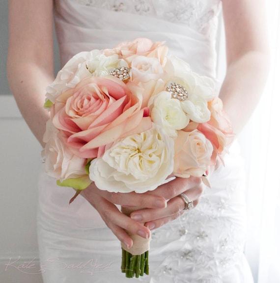 Blush And Ivory Garden Rose Wedding Bouquet Rhinestone