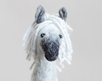 Felt Horse - Bethany.  Felted animal Marionette Art Toy. Dapple Grey Horse plush Stuffed  Horse Toy farm animal for kids Puppet silver.