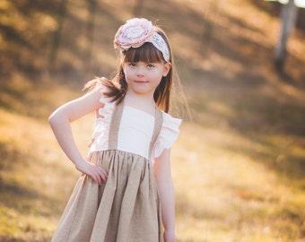 Girls Flutter Sleeve Dress - Spring Girls Boutique Dress - Linen Dress - Easter Dress - Lace Dress - Birthday Dress - Photography