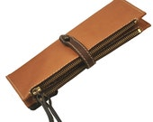 Handmade leather wallet in natural CAMEL color, named Helios Made to order