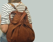 Backpack,Shoulder bag,Cross body bag, in Copper cotton canvas with leather details,named Mara MADE TO ORDER