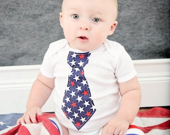 Baby Boy 4th of July, Summer Patriotic, Independence Day Welcome Home Daddy. Tie Bodysuit  & Leg Warmers SET.